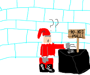 Jolly Santa pulls the forbidden lever