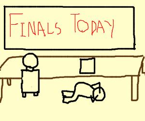 Student hides under desk during finals.