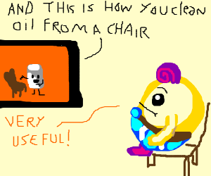 """Marshmallow watches video""""clean oil off chair"""""""