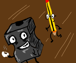 Pencil approaches nervous sharpener.