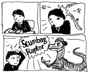 Velociraptor throws bananas at student