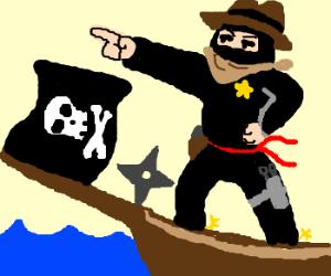 Cowboy-ninja on a pirate ship