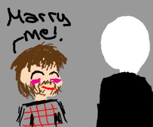 chuck norris asking slender man to marry him