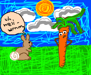 Rabbit struggles conversating with a carrot