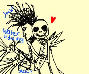 Jack Skellington hugs Edward Scissorhands