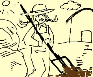 Farm girl forks the dirt.