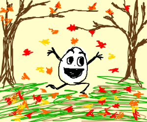 egg frolicking in autumn leaves