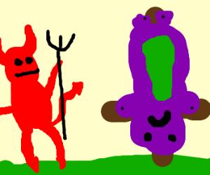Barney crucified upside down by Satan.