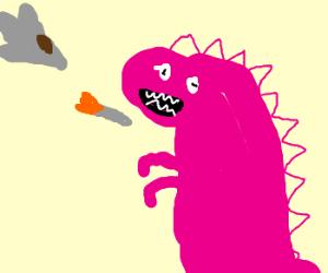 F-16 Blowing Up Pink Godzilla...