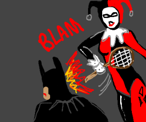 Harley Quinn slaps Batman with a racket
