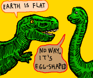 Nerd dinosaurs engage in physical disagreement