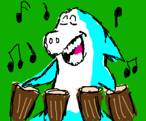 Jabberjaw on the bongos