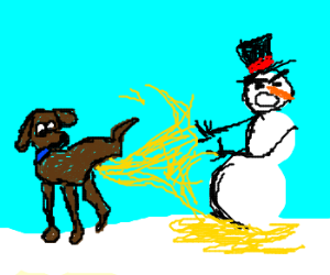 Dog peeing like a firehose on melting snowman