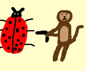 Giant monkey threatens giant labybug /w gun