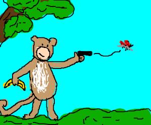 Monkey shoots ladybug.