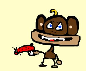Monkey has the right to keep/bear ladybug guns