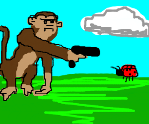 A monkey trying to kill a bug.