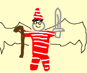 Waldo with wings, a sword, and cane