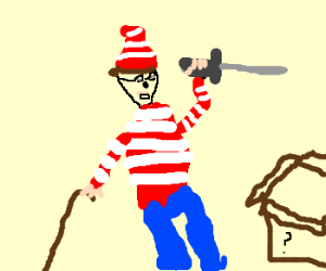 Waldo found a cane and a sword!