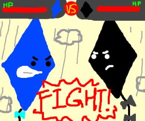 Kite showdown. Blue kite v. Black kite