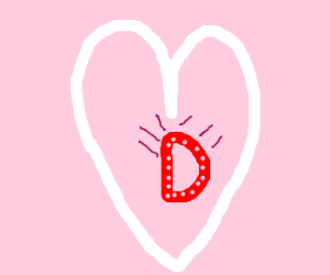 "A very fancy ""D"" within a white heart"