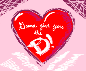 "Heart with a hairy letter ""D"""