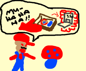 bad mario threatens shroom
