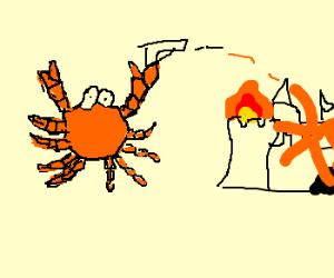 Orange crab shoots, castle explodes