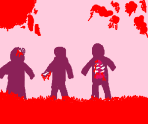 Zombies walking through a blood spatted frame