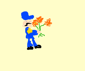policeman with flowers
