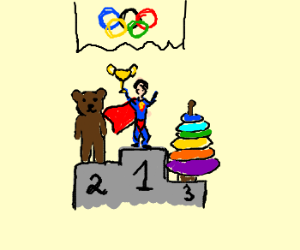 Super man got gold in the toy olympics
