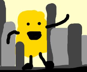 giant yellow face terrorizes city
