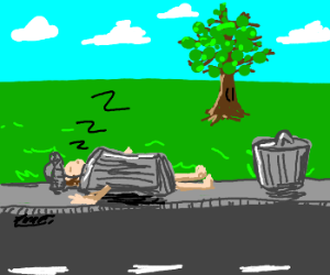 Sleeping trashcan with arms and a head
