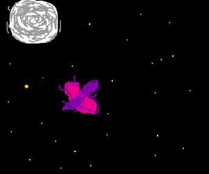 purple bug in the night sky