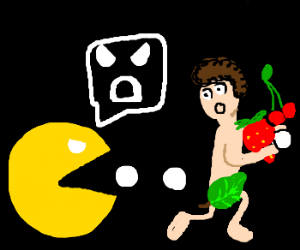 Pacman's angry at the naked dude