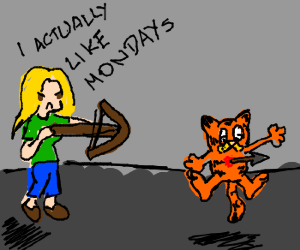 Blonde woman shoots Garfield with crossbow