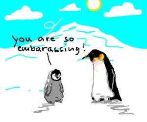 Baby penguin hits puberty!