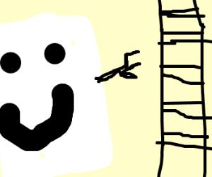 happy marshmallow points at railroad tracks