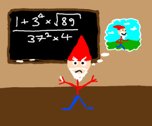 Angry Gnome stickman hates math loves exercise