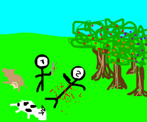 Cain murdering Able in the field