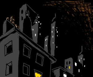 Batman overlooks Gotham City; sees crime.