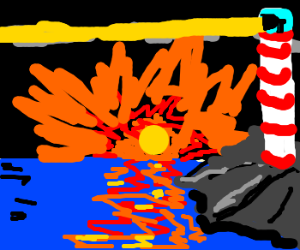 painting of lighthouse with sunset over sea
