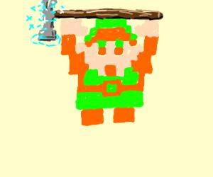 Link obtsind the POWER HAMMER!