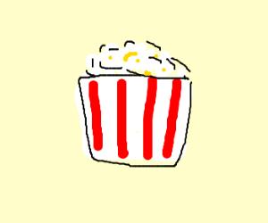 popcorn in a red striped bag