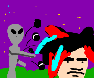 An alien throwing Oreos at a scene kid