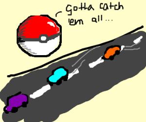 Giant PoketBall watch mini cars rally