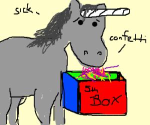 unicorn puking confetti into a 5th box