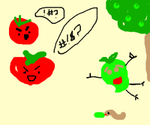 Tomatoes curse apple for terrible fate