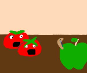 Tomatos panicing over sad worm eating apple
