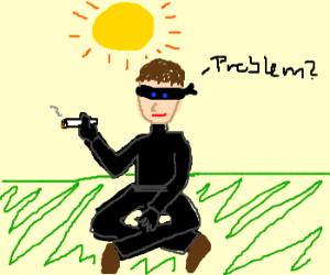 Ninja smoking under the sun...